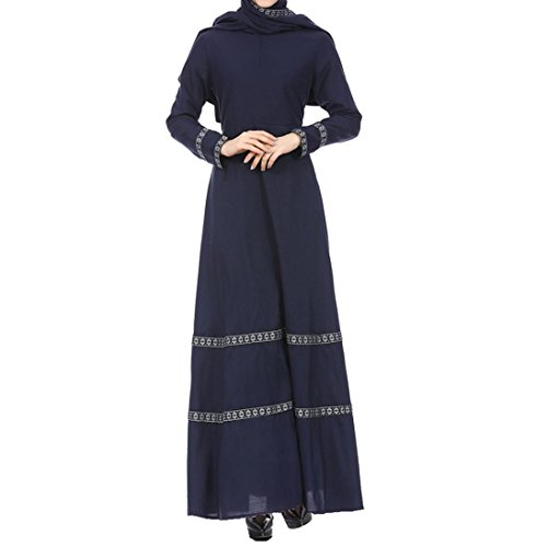 SUKEQ Hot Sale Women Muslim Dress Vintage Slim Islamic Abaya Jilbab Long Sleeve Maxi Dress Casual Floral Dubai Clothing (Medium, Navy)