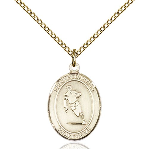 Bonyak Jewelry Custom Engraved Gold Filled St. Sebastian/Rugby Pendant 3/4 x 1/2 inches with Gold-Filled Lite Curb Chain