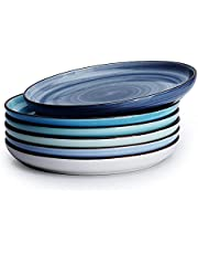 Sweese 165.003 Porcelain Round Dessert Salad Plates - 7.4 Inch - Set of 6, Cool Assorted Colors