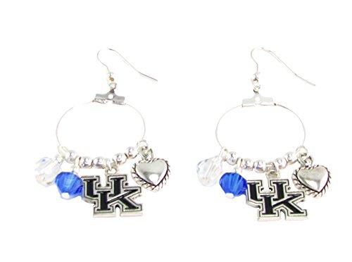 Kentucky Crystal Earrings Wildcats - Kentucky Wildcats Blue Clear Austrian Crystal Heart Logo Hoop Earrings UK