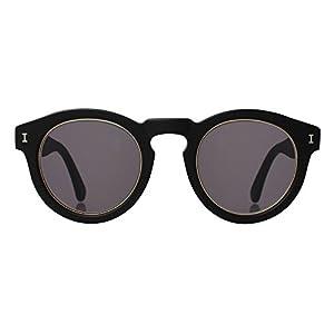 ILLESTEVA Leonard Ring Designer Sunglasses, Non-Polarized, Unisex (Matte Black, Grey)