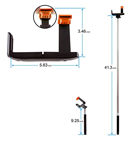 overstock sale ptdc selfie monopod stick with built in wireless bluetooth remote shutter black. Black Bedroom Furniture Sets. Home Design Ideas