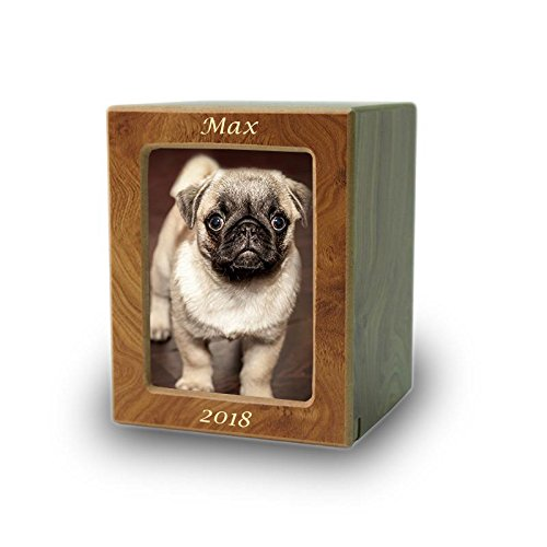 Natural Wood Wood Pet Photo Cremation Urn - Extra Small Brown Memorial Urns for Ashes - Custom Engraving Included
