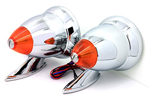 - LATCHWELL New PRO-4030009 Talbot-Style Chrome Bullet Side Racing Mirrors with LED Turn Signal Fender Door Mount (Pair)