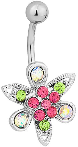 Surgical Steel Jeweled Flower Belly Button Ring
