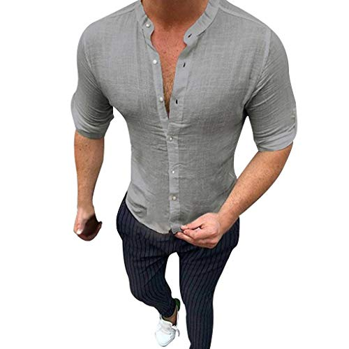 NEEKEY Men Casual Button-Down Shirts Summer Cotton and Linen Shirts Comfortable Solid Color Polos Top T-Shirts Tank Tops Gray