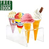 popcorn and candy holder - Acrylic 6 Holes Mini Ice Cream Cone Holder Stand Rack to Display Ice Cream Cone Popcorn Candy Mini Oreo Sugar Snow Cone French Fries Sweets Savory - Ice Cream Recipe eBook Included