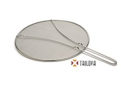 "Trilova 13"" Stainless Steel Splatter Screen with Fine Mesh and Resting Feet - High Quality Food Safe Heavy Duty Grease Guard Splash Shield for Pots and Frying Pans"