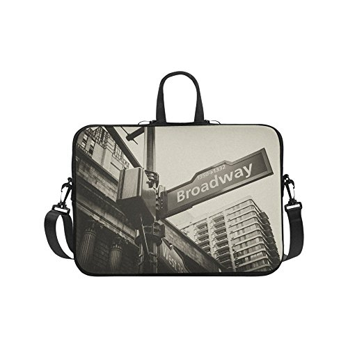 InterestPrint Broadway and West 36th Street Sign New York City NYC Waterproof Neoprene 17 17.3 Inch Laptop Sleeve Case Shoulder Bag with Handle & Strap for Dell HP Thinkpad Acer Tablet Woman Man -  L0324-17S-04