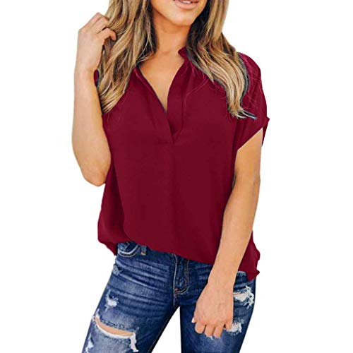 Pongfunsy Women Plus Size Tops, Ladies Summer Chiffon Solid Short Sleeve Casual V Neck T-Shirt Shirt Tops Blouse (XXL, Wine)