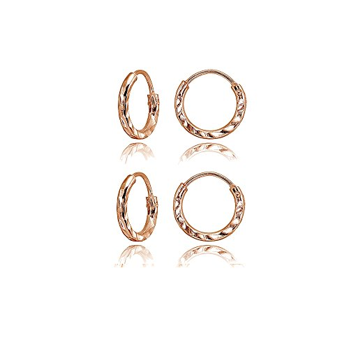 2 Pair Set Rose Gold Flashed Sterling Silver Diamond-Cut Tiny Small 10mm Round Lightweight Unisex Endless Hoop Earrings