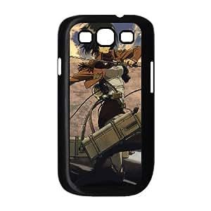 Mikasa Ackerman Attack On Titan 002 funda Samsung Galaxy S3 9300 Negro de la cubierta del teléfono celular de la cubierta del caso funda EOKXLKNBC26059