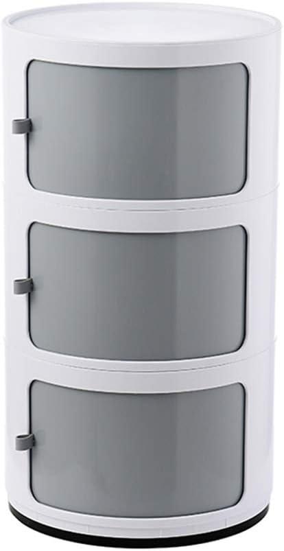 2/3/4 Nivel Mesillas de noche del Gabinete, Unidad plástico redondo Mesilla de noche de almacenamiento en el pecho con cajones y puertas corredizas con dormitorio moderno Sala de estar Mesa lateral de