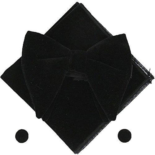 Men Velvet Oversized Bow Tie Pocket Square Cufflinks Set Bowtie Hanky Cuff Links - Tie Black Oversized Bow