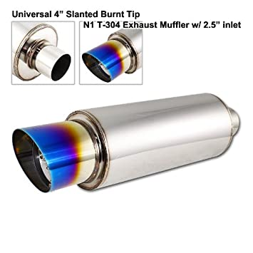 "Silencer Universal 3.5/"" Dual Rainbow Tip 2.5/"" Inlet Stainless Exhaust Muffler"