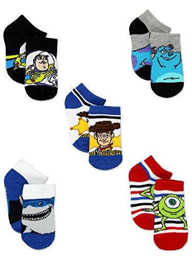 Disney Pixar Characters Toy Story Monsters Inc Finding Nemo Toddler 5 pack Socks (2-4 Toddler (Shoe: 4-7), White/Multi)