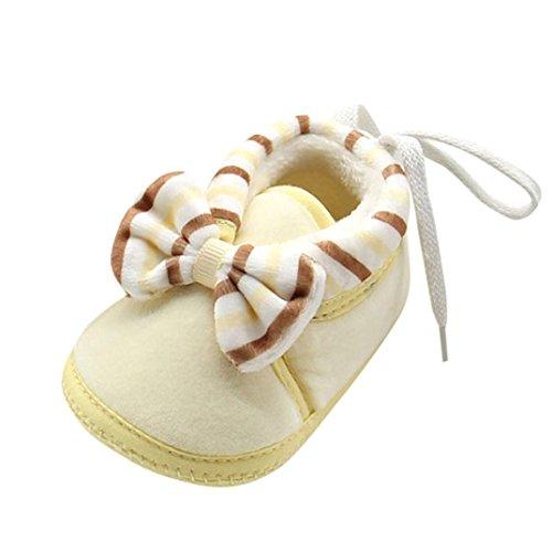 Clode® Nette Mädchen Jungen Neugeborene Warme Kleinkind Bowknot Weiche Sohle Stiefel Babyschuhe Gelb