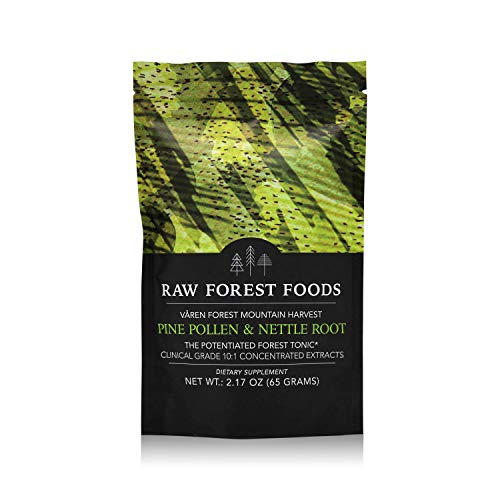 RAW Forest Foods – Pine Pollen and Stinging Nettle Root Extract Powder 65 Grams – Potent 10 1 Herb Extract to Support Endocrine System, Boost Hormone Balance of Testosterone and Estrogen Levels