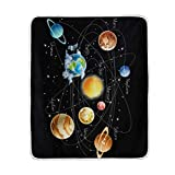 TSWEETHOME Universe Solar System Planets Fleece Blanket Super Soft Warm Lightweight Bed or Couch Sofa Blanket Throw Blanket (50''x60'')