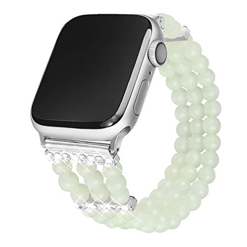Somoder Beaded Bling Bands Compatible with Apple Watch 38mm 40mm iWatch Series 4/3/2/1, Handmade Elastic Stretch Night Luminous Pearl Bracelet Bands with Rhinestone for Women Girls ()