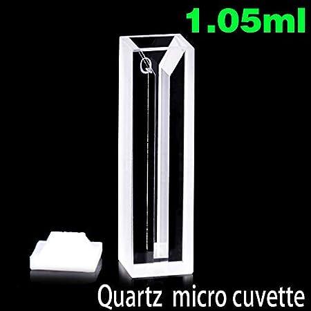 XUEBAI 0.35ml-1.75ml Micro Cubetas De Desarrollo De Cromatografía con Tapa De PTFE para Espectrofotómetro, Pared Blanca, Camino De Luz De 10mm, Ancho De Luz 1-5mm, 2 Ventanas Transparentes,1.05ml