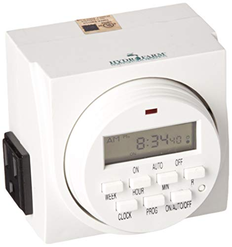 Hydrofarm TM01715DO Dual Outlet 7-Day Grounded Digital Programmable Timer, ()