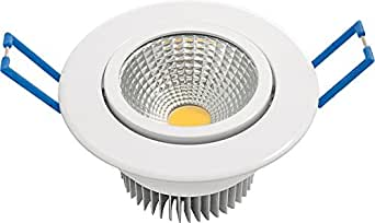 Garza Lighting - Foco Downlight LED empotrable COB direccionable, blanco, luz cálida 3000K: Amazon.es: Iluminación