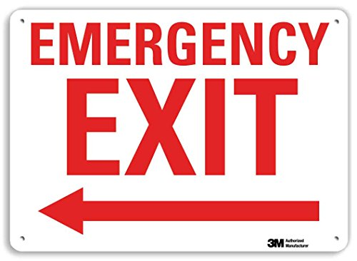 """SmartSign """"Emergency Exit"""" Sign with Left Arrow   10"""" x 14"""" 3M Reflective Aluminum"""