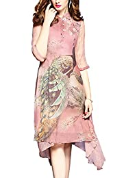 Womens Vintage 3/4 Sleeve Peacock Print Rayon A-line Casual Swing Dress