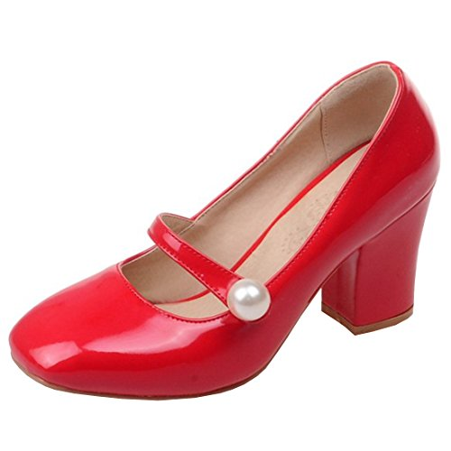 (Artfaerie Womens High Heels Mary Janes Strappy Pumps Patent Leather Closed Toe Summer Dolly Shoes Red)
