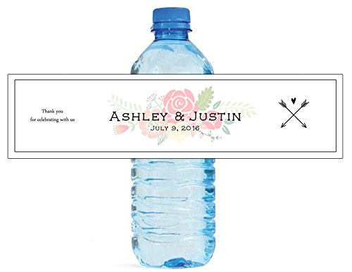 100 Shabby Chic Arrows & Flowers Wedding Anniversary Engagement Party Water Bottle labels Bridal Shower Birthday ()