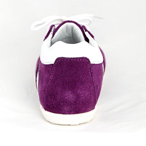 Babyschuhe Kinderschuhe Mädchenschuhe Lauflernschuhe lila Streifen weiß Modell Emel 2045A-3 handmade (23)