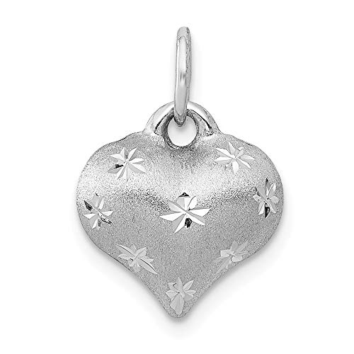 Real 14kt White Gold Satin & Diamond Cut Puffed Heart Pendant
