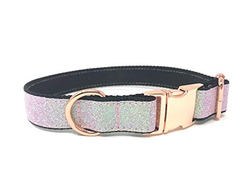 Collar Glam (Big Pup Pet Fashion Rose Gold, Pink, Black Fancy Dog Collar for Girls, Females, Blingy, Sparkly, Glitter Dog Collar (L 1