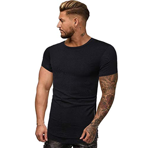Lapel Short Sleeve Shirt Mens Zipper Pure Color Splicing Pattern Casual Fashion Black