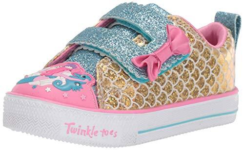 Skechers Kids Girls' Shuffle LITE-Mermaid Parade Sneaker, Gold/Multi, 9 Medium US Toddler ()