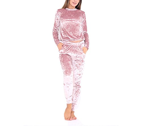 Aro Lora Women's Velour Velvet Jogger Lounge 2 Pieces Set Sportswear Tracksuit XXX-Large Pink