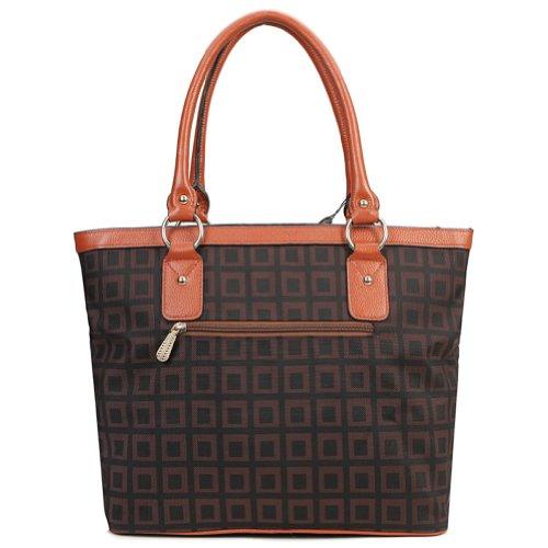 VIVILLI Newfashioned Check Patter Genuine Leather Shoulder Bag,Handbag,Brown