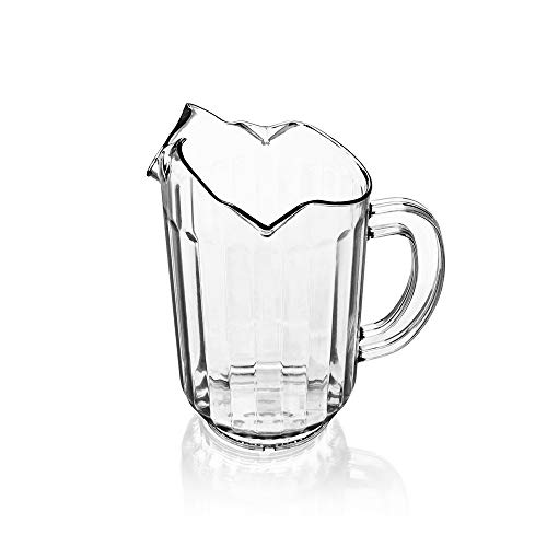 1 Quart Plastic Water Pitcher, 32 oz Clear Polycarbonate Beverage Pitcher with 3 Spouts, Restaurant Water Pitchers by Tezzorio