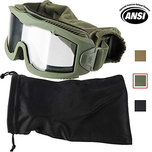 Airsoft Goggle System - Lancer Tactical AERO 3mm Thick Dual Pane Lens Eye Protection Safety Goggle System ANSI Z87 1 Rated Industry Standard Panel Ventilated w/Anti-Scratch Shield Fully Adjustable (OD Green/Clear)