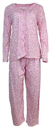 Sindrella Women's Plus Size Cotton Blend Pajama Set, Floral Vines (XL, Pink) -