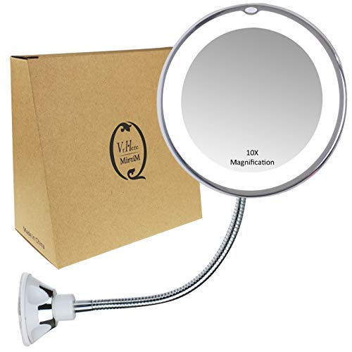 Gooseneck Magnifying Mirror with light, 10X Magnification, Bathroom Vanity Mirror, Compact Travel -