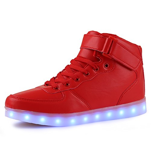 TULUO Kid & Men & Woman USB Charging LED 7 Colors Light High Top Sneakers Light shoes Red 32 EU - 12 Child UK
