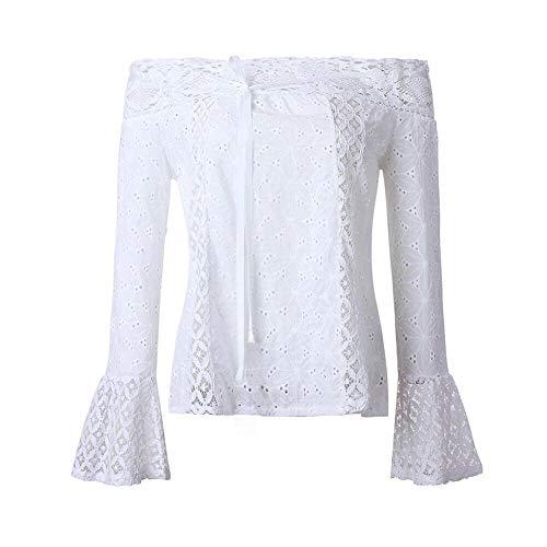 a da Bianco maniche spalla Top a Xl S lunghe donna M per L pizzo Top senza Yanhoo Top in maniche Camicetta Loose 15n67q