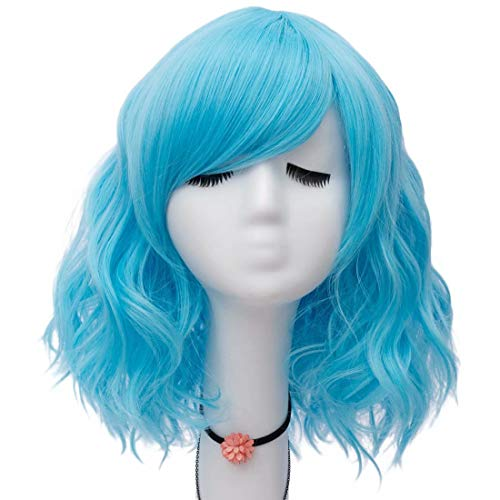 Easy Female Villain Costumes (NiceLisa Women Girls 16 Inches Loose Wave Medium Length Clear Blue Cosplay Costume Wigs Side)