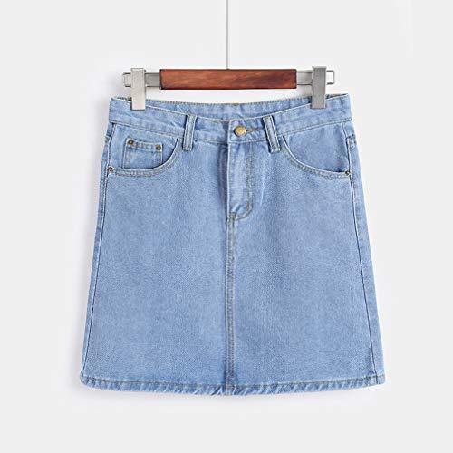 Bodycon junkai Mini Denim Ligne Femmes Jupe 3XL Crayon S Une Courte Haute Bleu Taille Clair Jeans Jupe rIfAw0qI