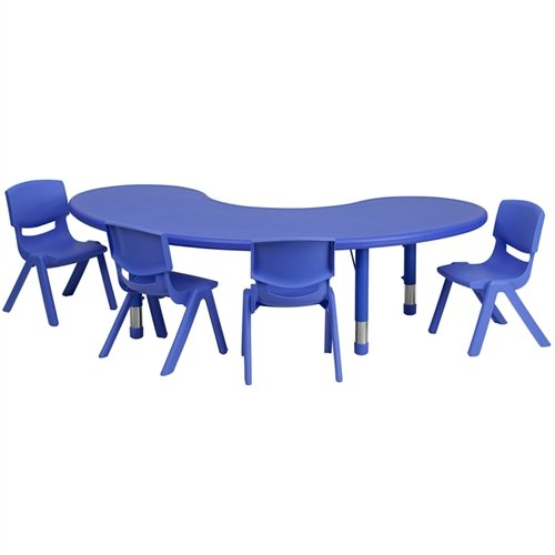 Flash Furniture 35''W x 65''L Half-Moon Blue Plastic Height Adjustable Activity Table Set with 4 Chairs -