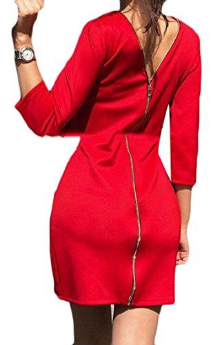 Sleeve Zipper Back Long Jaycargogo Bodycon Pencil Red Dress Slim Women atxqBf6
