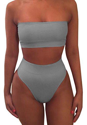 (Ybenlow Womens Strapless Two Piece Swimsuits Bandeau Top High Waisted Bottom Bikini Set Swimsuit Grey )