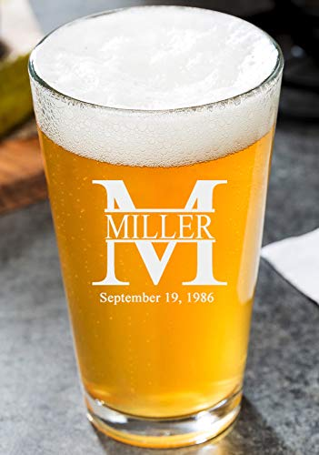 Personalized Pint Glasses 16oz - Custom Engrave Pint Beer Glass | Miller Design